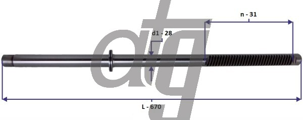 Steering rack bar<br><br>VW Transporter T4 1990-2003<br> (L - 670, d1 - 28, n - 31) <br><br>