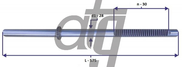 Steering rack bar BMW 3 E46 (L - 575, d1 - 28, n - 26)