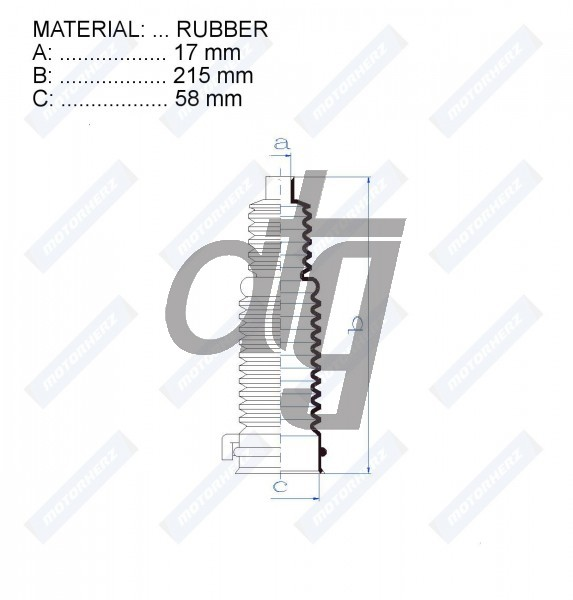 Steering rack gaiter<br><br>RUBBER  (17*215*58)  FORD<br><br>