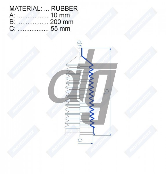 Steering rack gaiter<br><br>RUBBER  (10*200*55)  FORD<br><br>