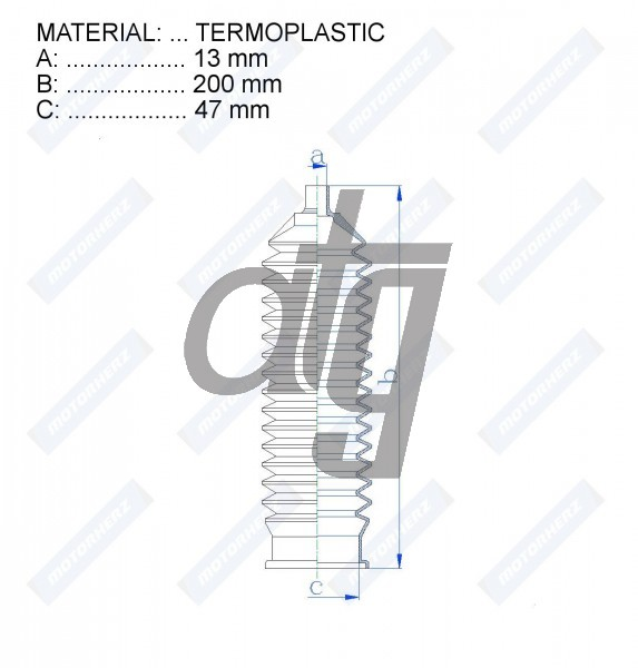 Steering rack gaiter<br><br>TERMOPLASTIC  (13*200*47)  FORD, MG,ROVER<br><br>