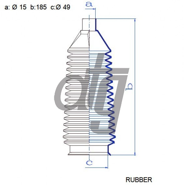 Steering rack gaiter<br><br>RUBBER  (15*185*49)  FORD (OLD)<br><br>
